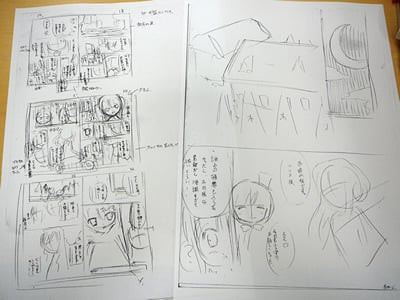 てぃんくる先生のマンガ制作の様子。てぃんくる先生のマンガ制作の様子.てぃんくる先生のマンガ制作の様子.これがネーム。全ページのコマ割とセリフが入った、マンガの設計図です。